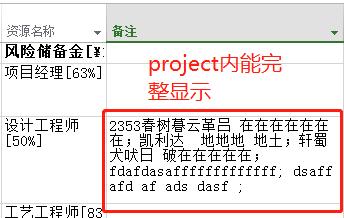 在project里面的备注信息显示完整